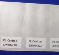 Close up of cable labels on sheet as supplied
